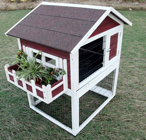 The dimensions are quite small but you could use it for dwarf rabbits or for inspiration of how to modify an existing hutch to make an exciting living space for your bunnies.