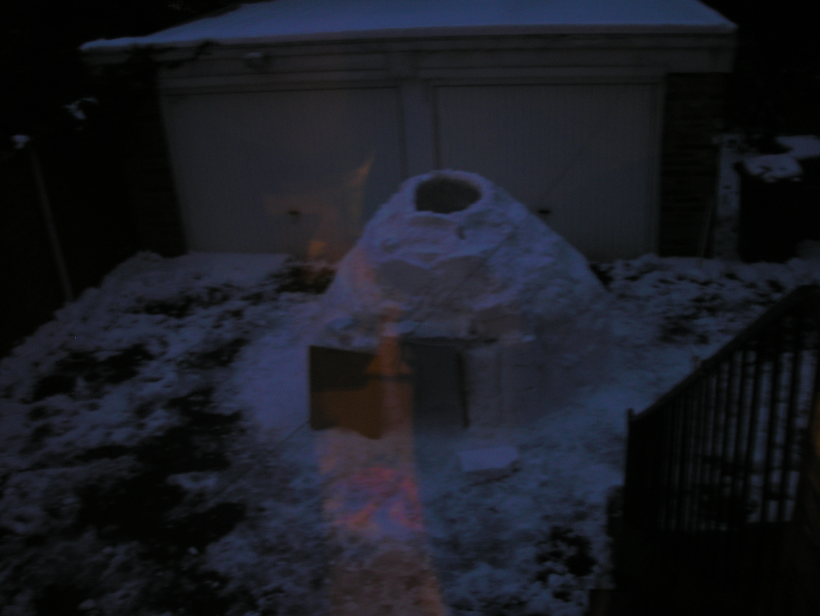 This is what the finished igloo looked like.  It took us about 5 hours to build, including a break every hour or so when we went indoors to defrost.