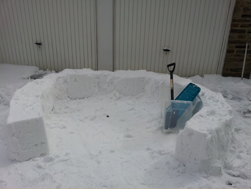 This was the first layer from a different angle.  We left loads of room for the doorway.