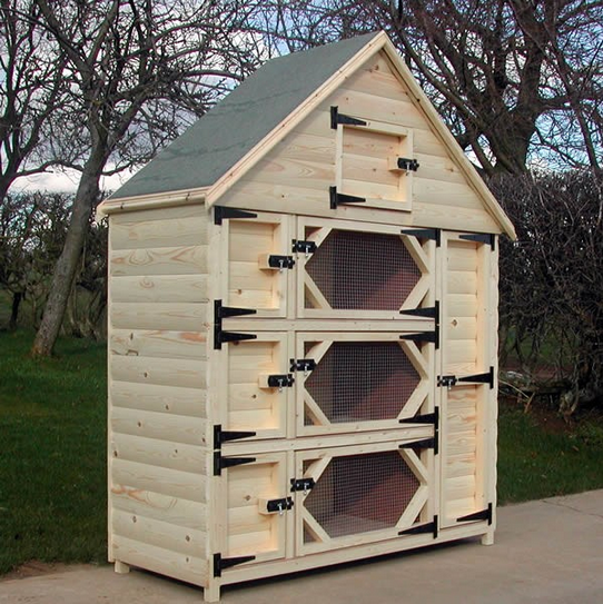 This behemoth from www.rehutches.com has four floors of bunny play space and a storage locker for hay and food, making the most of a tall room.  I'd put this in my living room.