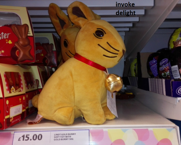 My personal favourite, the Lindt Easter soft cuddly gold bunny, complete with three tiny milk chocolate bunnies hiding in her tummy.  I think it's educational.  I'd like it even better if the little ones came in dairy free dark chocolate.  So very snuggly...