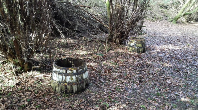 We don't know what these barrels be doing here, but there were no hobbits or dwarves around so we concluded that they'd escaped from them and were on the loose somewhere else in the grounds.