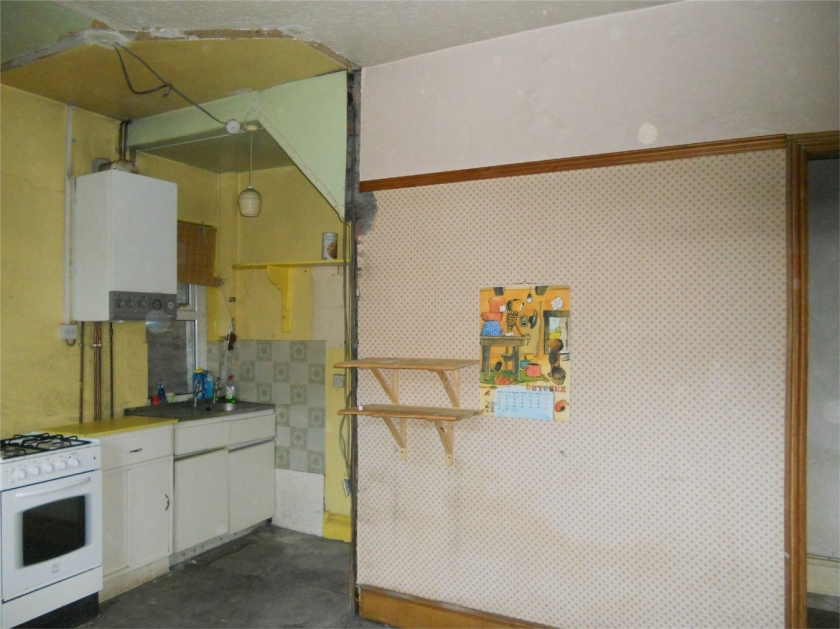 This is a feature kitchen.  Like a feature wall, only under the stairs.  And probably wants covering up.  Or razing to the ground.
