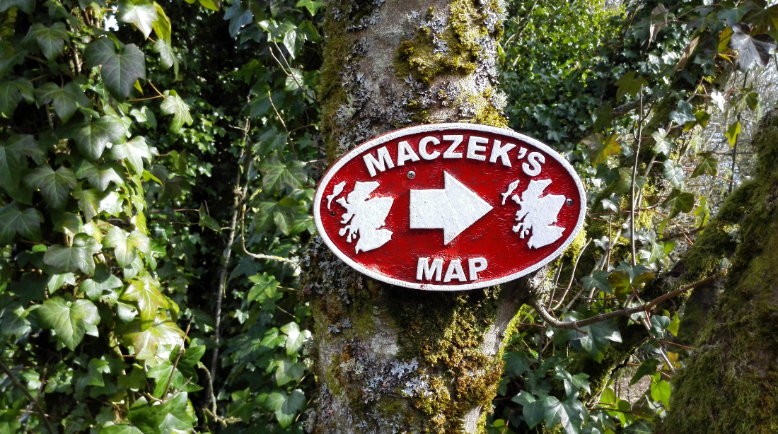 A sign for the Mapa Scotland, the amazing 3D relief map of Scotland, built by Polish soldiers, showing all the Scottish mountains; this was a key attraction when the hotel was built but has now fallen into obscurity.