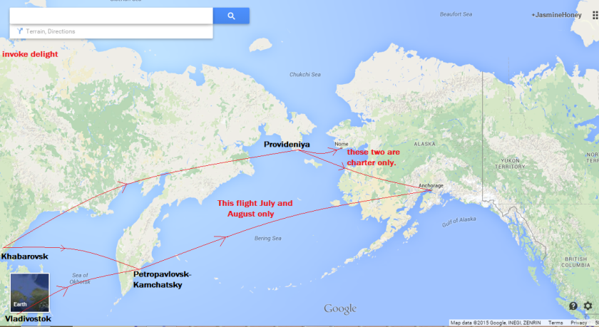 This map shows an overview of the ways you can get from Russia to Alaska by air. Click to enlarge. Base map: Google maps Additional layers: me.
