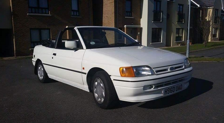 ford escort cabriolet white 1990 2