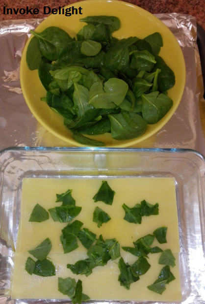 This is how much spinach I used and how much I tore it up.