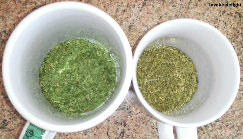 dried coriander (cilantro, left) and oregano (right).