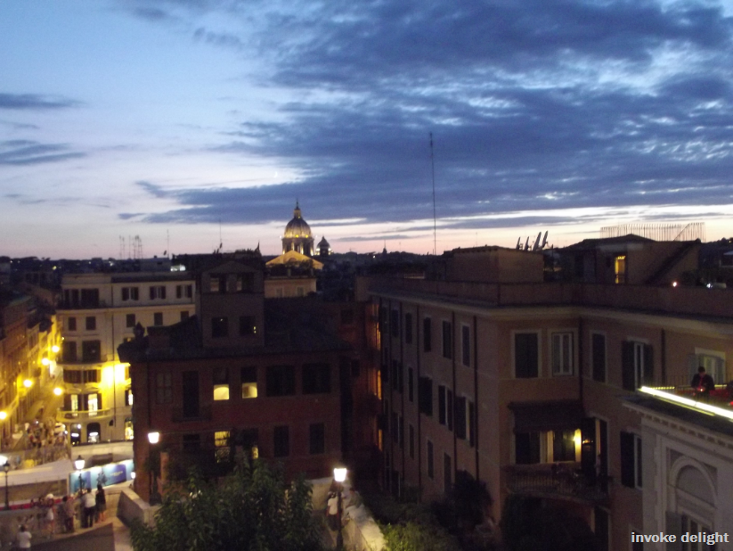 The only VAGUELY in focus picture of the view from the top of the Spanish Steps.  My camera does NOT cope with low lighting very well.