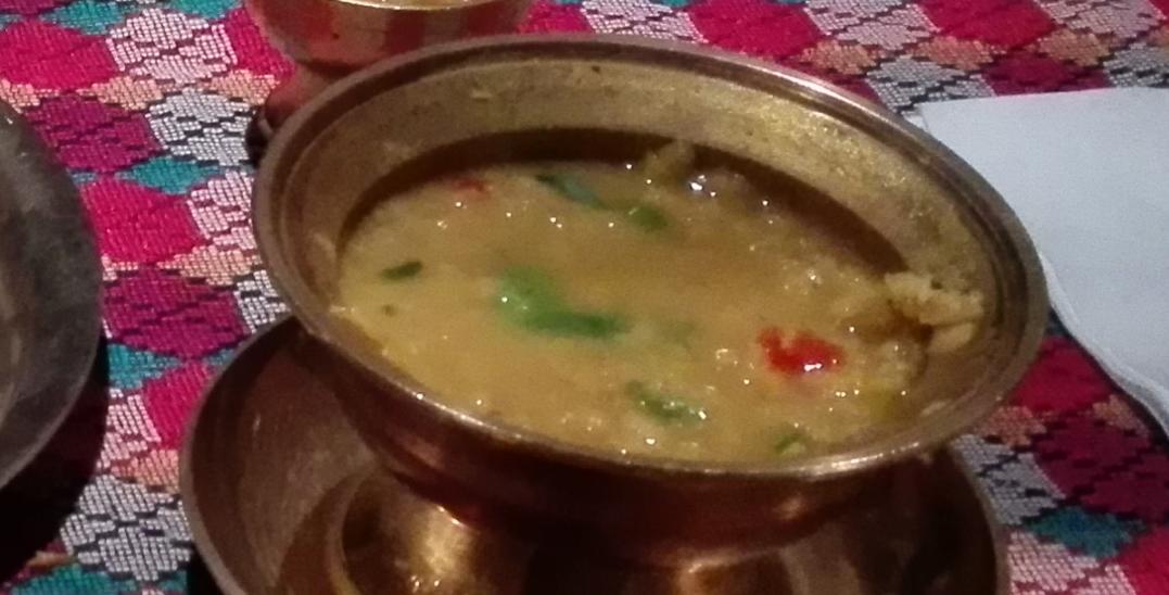 Tasty dhal at the Yak and Yeti Gurkha restaurant, York.