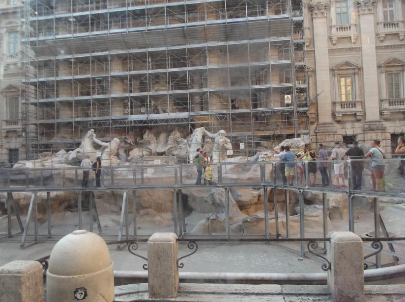 The Trevi Fountain restoration work September 2014