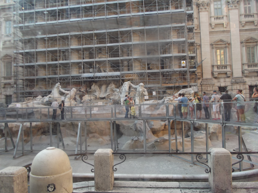The Trevi Fountain restoration work September 2014