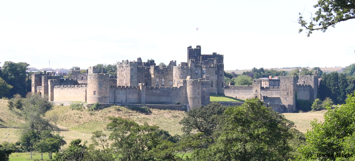 Alnwick Castle, best viewed from the side of the road.  There are NO VIEWS FROM THEIR EXPENSIVE CAR PARK.