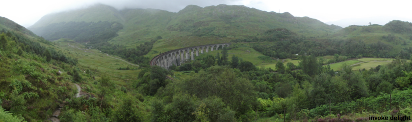 A panoramic shot of the Glenfinnan Viaduct.