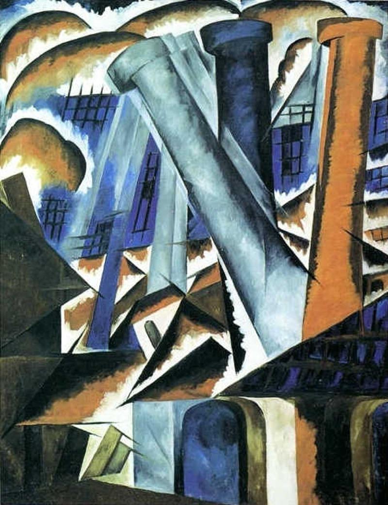 Natalia Goncharova: A Factory (1912).
