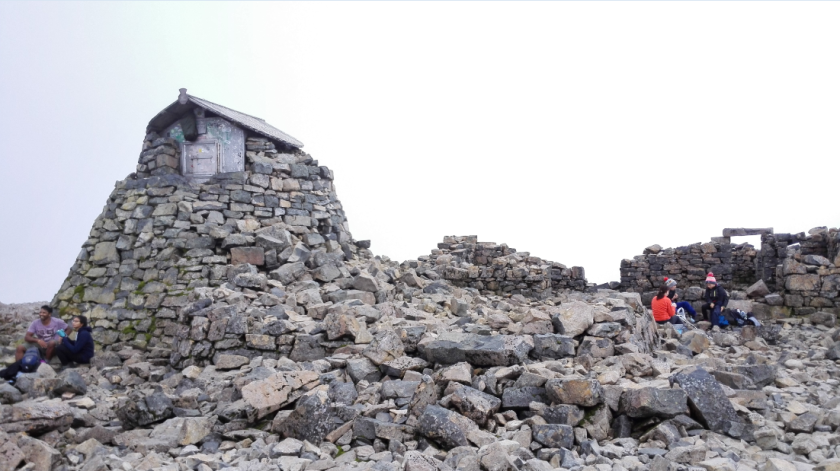 The emergency shelter is in that hut at the top of the remains of the old observatory.