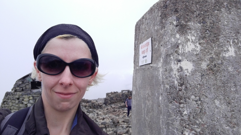 The trig point at the top, proving we made it.