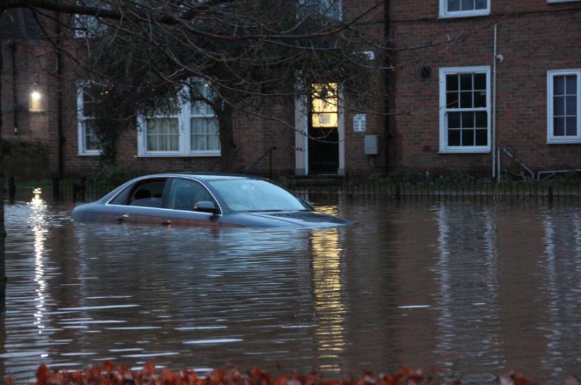 York floods 2015 expensive looking car underwater
