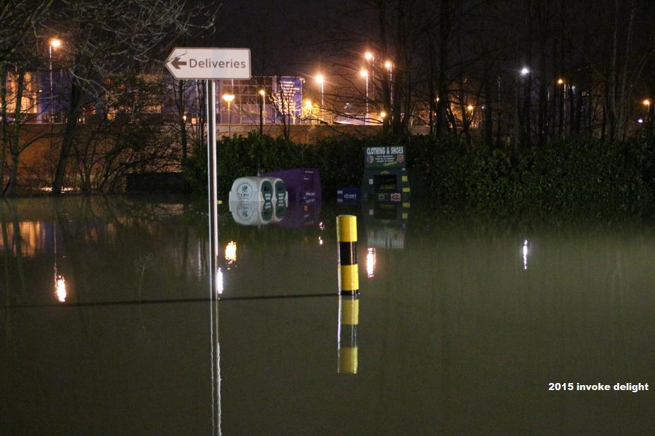 York flood 2015 recycling bins underwater