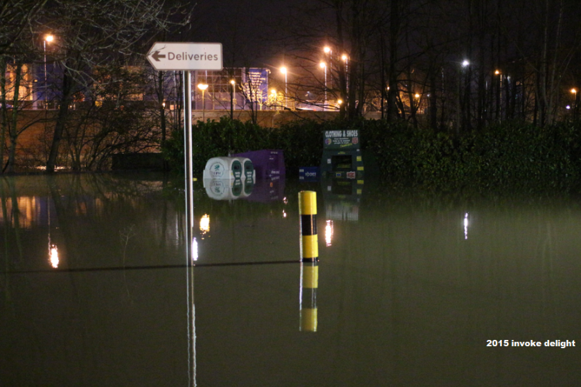 York flood 2015 recycling bins underwater