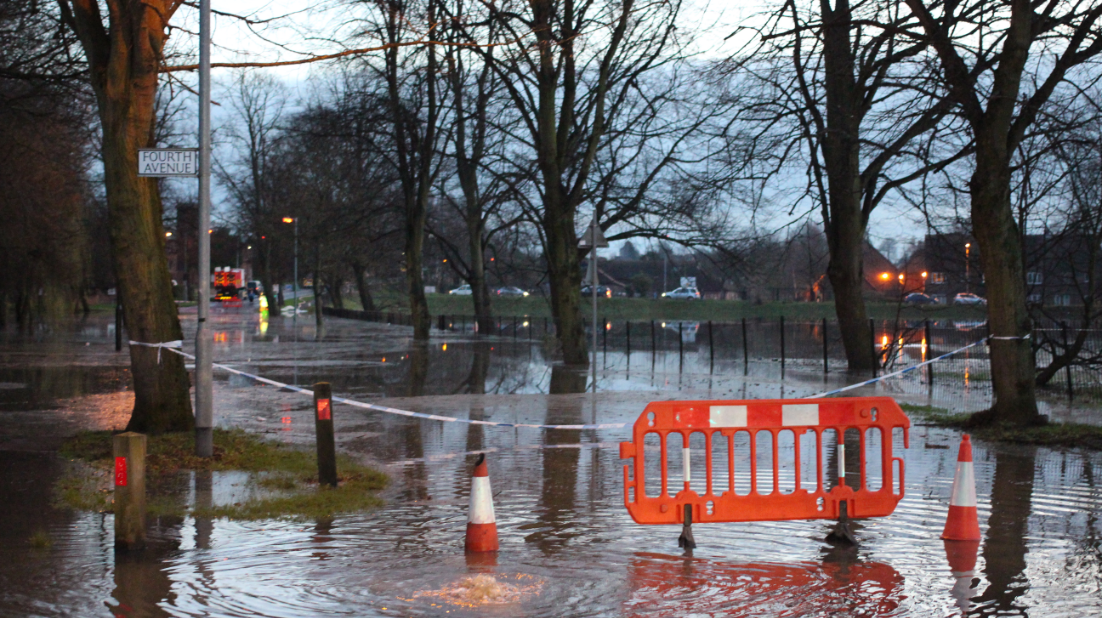 York flood 2015 Melrosegate road underwater sewer bubbling up water.