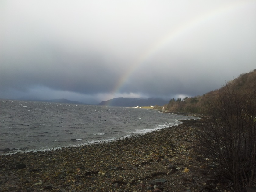A rainbow in the West Highlands of Scotland on the A82 on the way to Loch Ness.