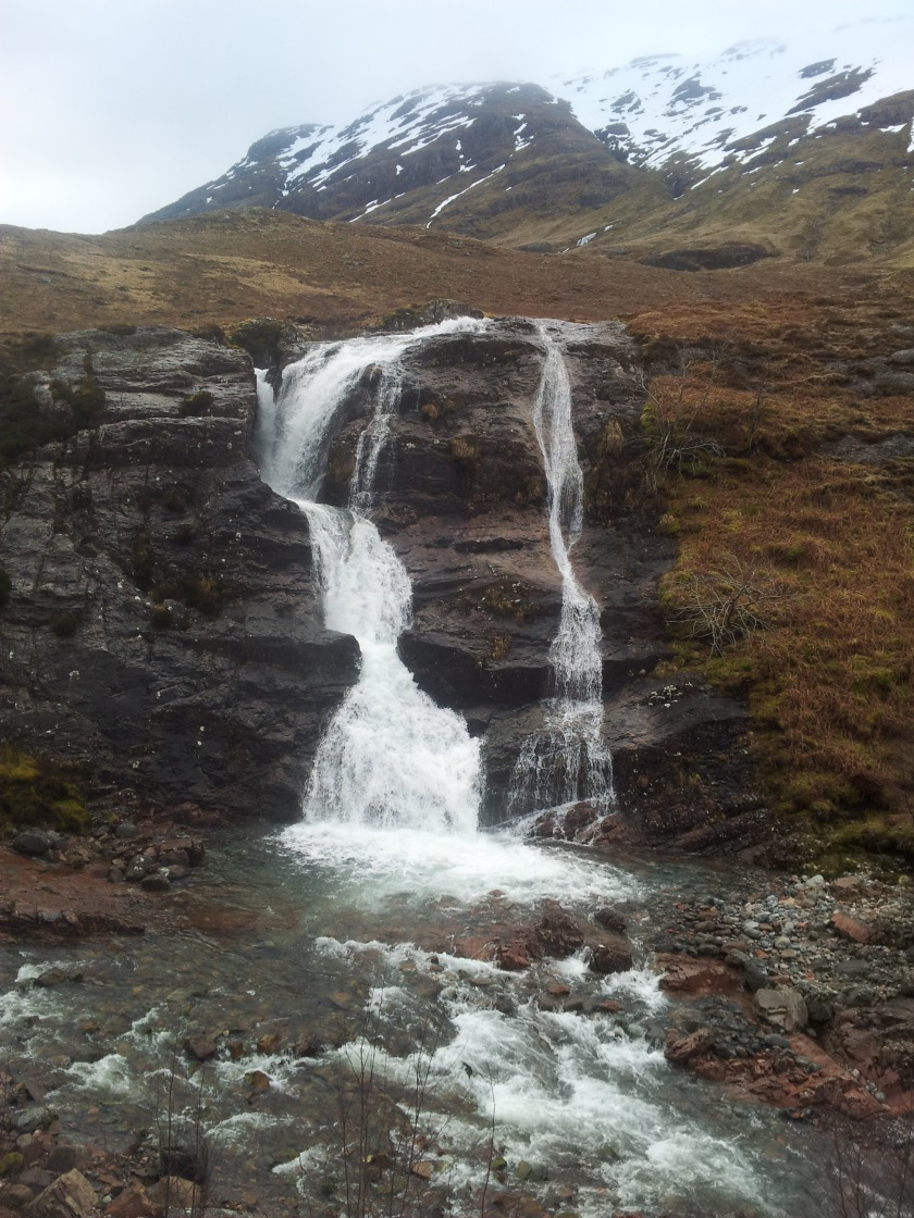 A beautiful waterfall near Glencoe in Scotland, next to the A82.