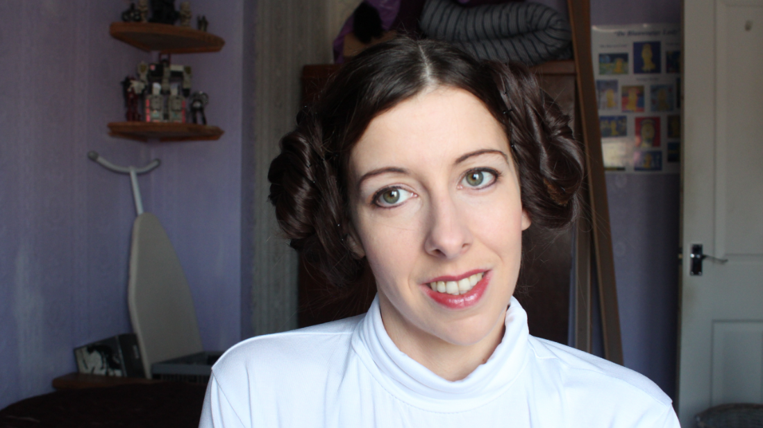 A close up of Princess Leia's face and hair from the Star Wars Episode IV A New Hope tutorial video.
