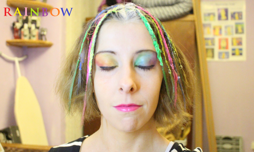 Rainbow eye make up from the front (goes with glow in the dark rainbow hair)
