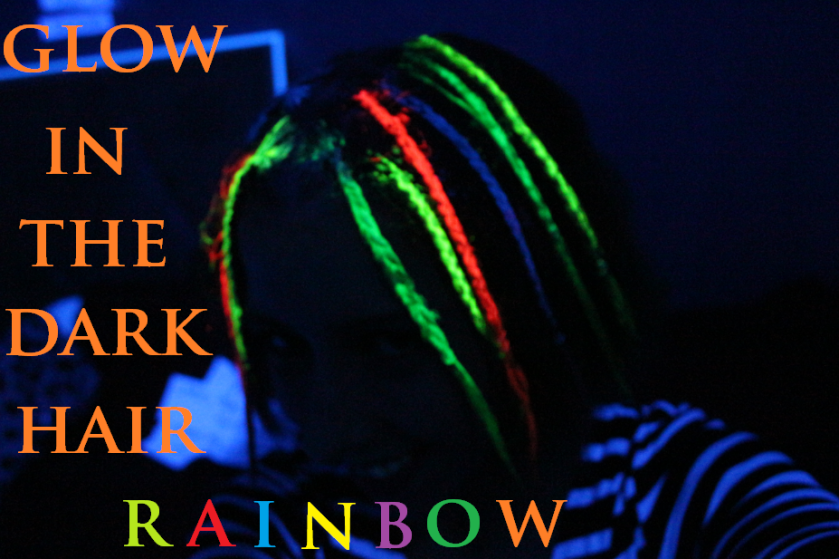 The rainbow glow in the dark UV hair tutorial came out like this.