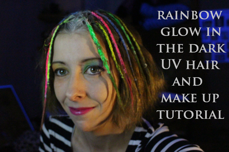 Rainbow glow in the dark UV hair and make-up tutorial results.