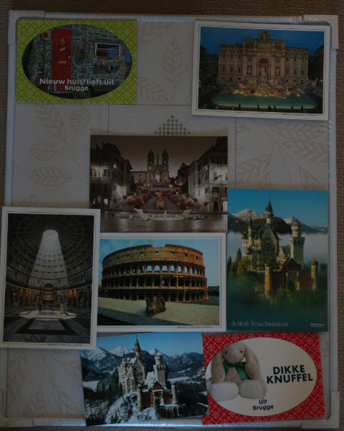 Travel postcard picture 2: Bruges, Belgium (2014 top left), Trevi Fountain Rome (2007, top right), Spanish Steps, Rome (2014, centre top-ish), Pantheon, Rome (2014, left), Coliseum, Rome (2014, centre), Neuschwanstein Castle, Germany (2014, right and bottom centre), Bruges, Belgium (2014, bottom right).