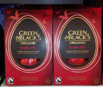 Green and Blacks chocolate Easter egg vegan