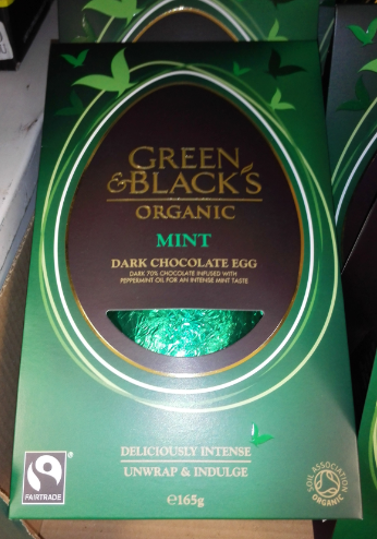 The 2016 ingredients for the Green and Black's 70% Cocoa Dark Chocolate Easter Egg mint.