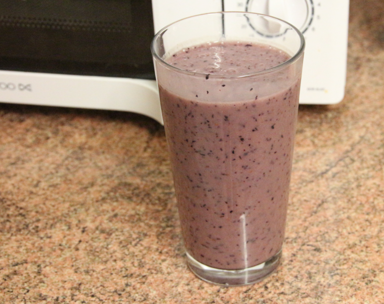 Blueberry, banana and coconut milk. invoke delight