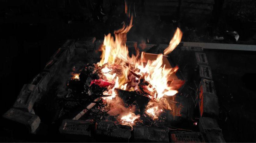 The flames of a bonfire, taken January 2016.
