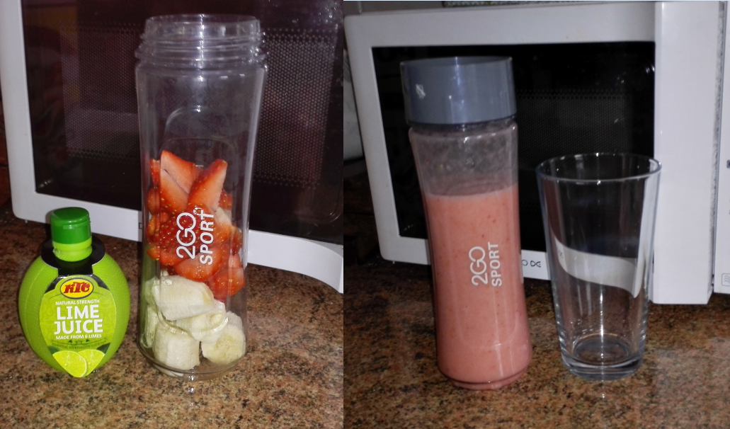 Strawberry banana and lime smoothie invoke delight