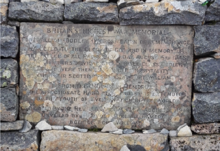 Britain's highest war memorial, on Ben Nevis,
