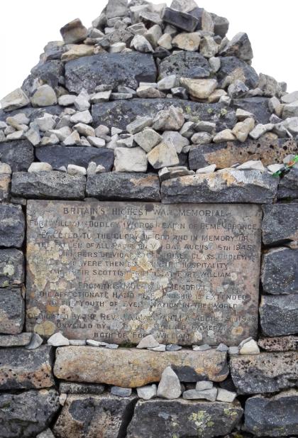 Britain's highest war memorial, on Ben Nevis,
