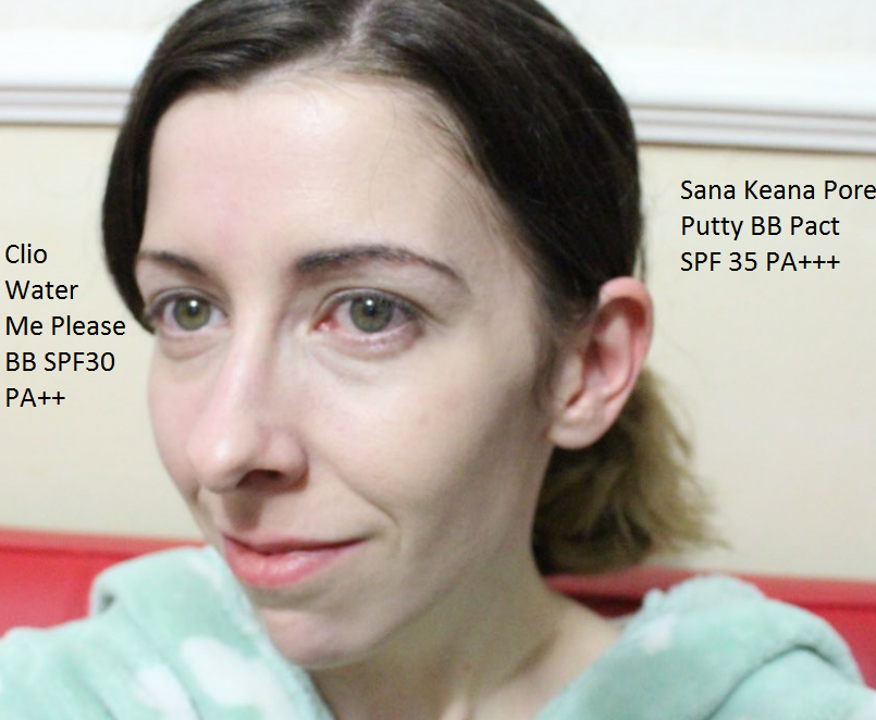 My face with SANA Pore Putty BB Pact on the right and Clio Water Me Please BB cream on the left.