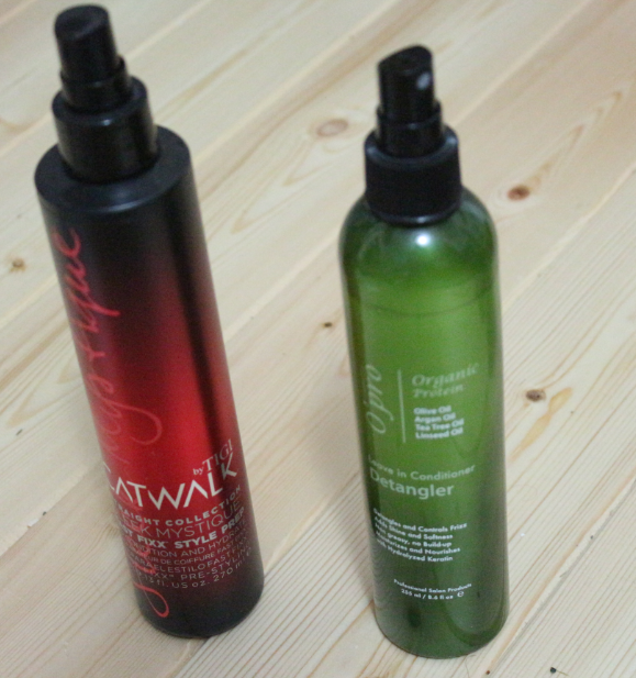 Tigi Catwalk Leave-In Conditioner (left) and O-Pro Leave-In Conditioner Detangler (right). review