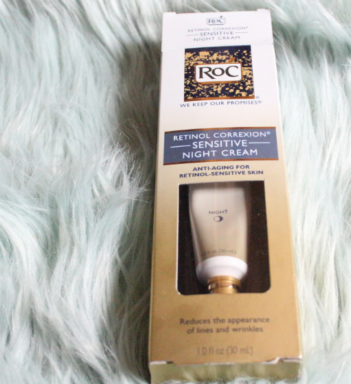 ROC retinol correxion sensitive night cream for sensitive skin.