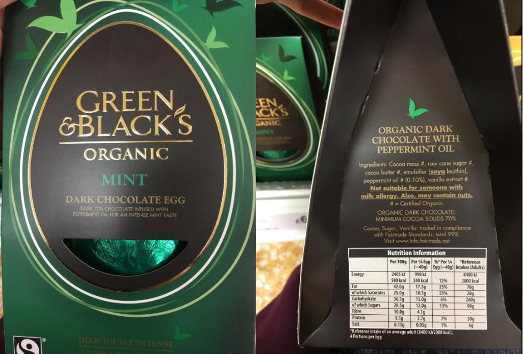 Tesco ff green and blacks egg mint vegan