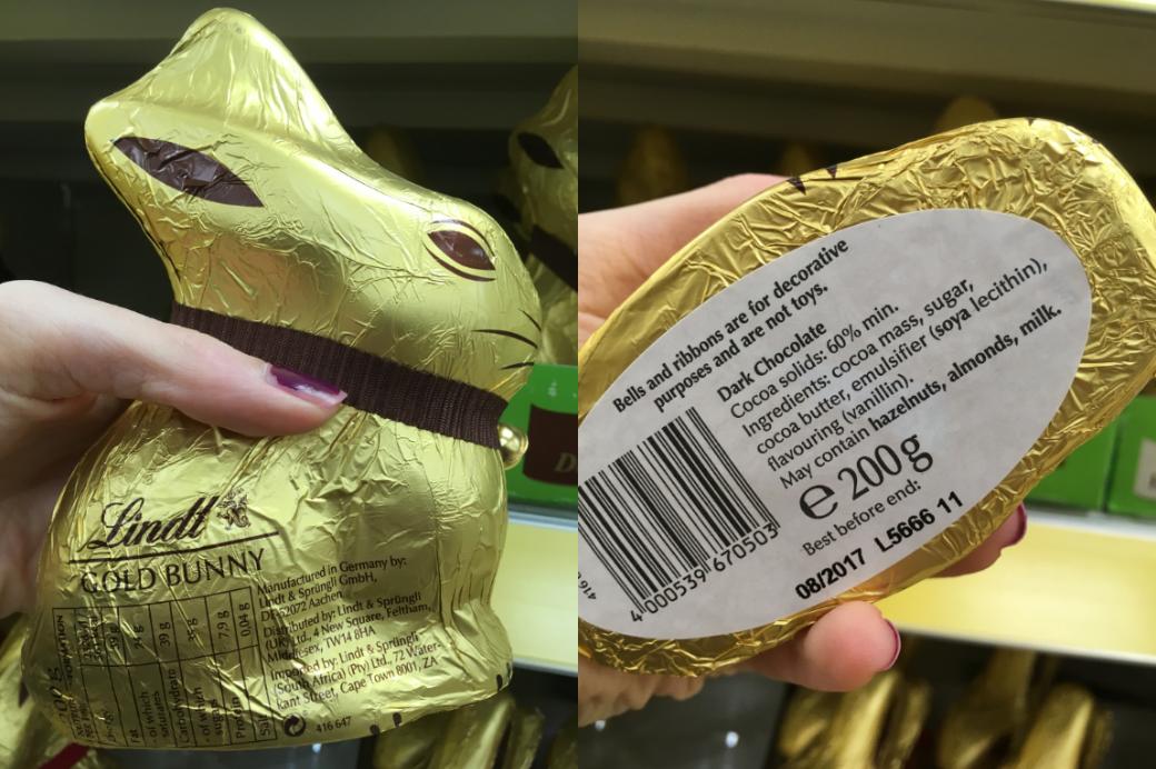 Lindt dark chocolate bunny dairy free vegan