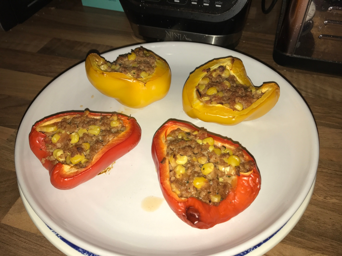 Vegan Meaty Stuffed Bell Pepper Tacos