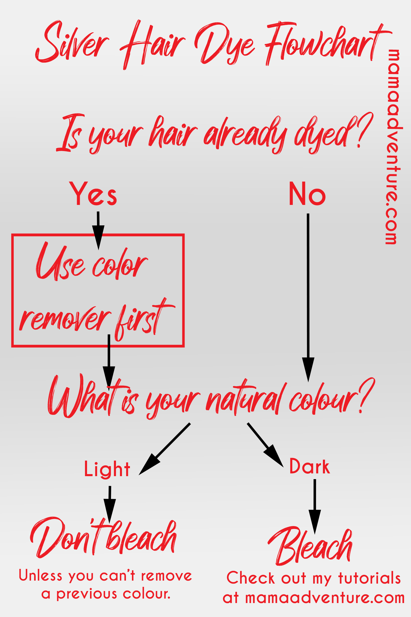 silver hair dye infographic hairdressing infographic flowchart mamaadventure