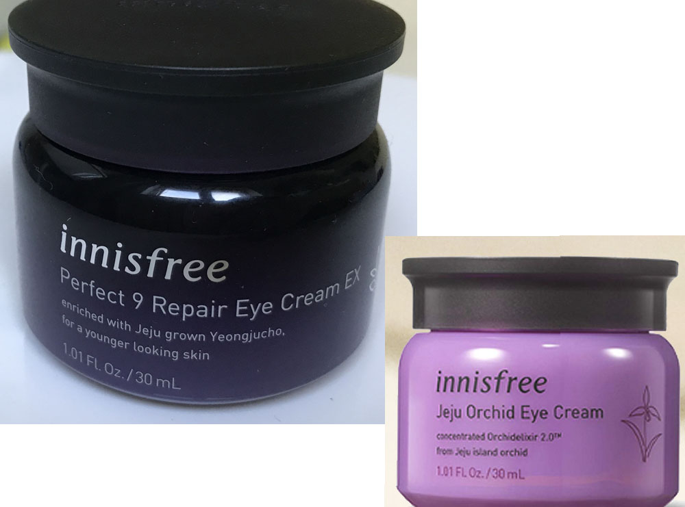 Review: Innisfree Perfect 9 Eye Cream vs Innisfree Orchid eye cream